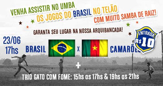 Trio Gato com Fome e transmissão de Brasil x Camarões no Umbabarauma Bar Eventos BaresSP 570x300 imagem