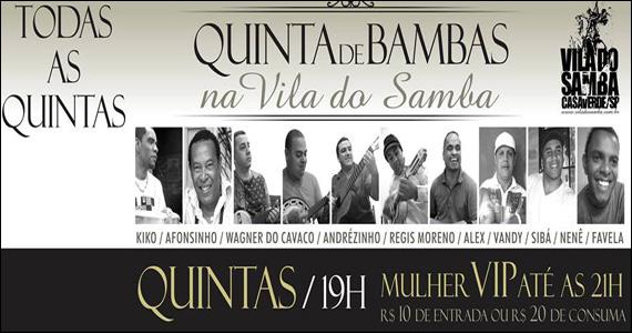 Vila do Samba apresenta as Quintas de Bambas com convidados especiais Eventos BaresSP 570x300 imagem