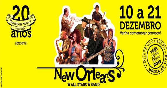 20 anos de Bourbon Street Music Club com a banda New Orleans All Stars animando a noite Eventos BaresSP 570x300 imagem
