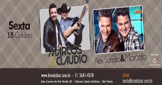 Duplas Marcos & Claudio e Alex Sandro & Marcelo embalam a noite de sexta-feira da Brook's SP Eventos BaresSP 570x300 imagem