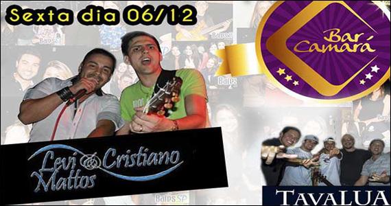 Dupla Levi & Cristiano Mattos e Banda Tavalua no palco do Bar Camará Eventos BaresSP 570x300 imagem