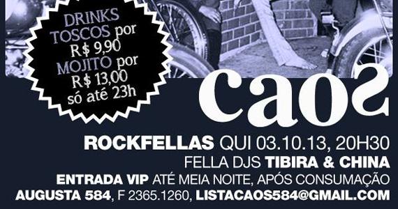 Festa Rockfeellas animam a noite desta quinta-feira com DJs no Bar caos Eventos BaresSP 570x300 imagem