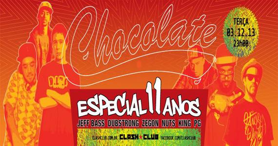Festa Chocolate Especial 11 anos com DJs convidados agitando a pista da Clash Club Eventos BaresSP 570x300 imagem