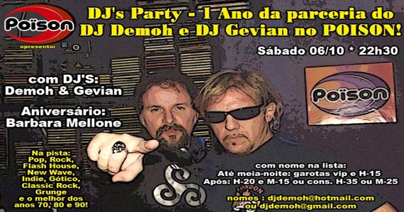 Dj's Party, Festa de 1 ano do Dj Gevian no Poïson Bar e Balada Eventos BaresSP 570x300 imagem