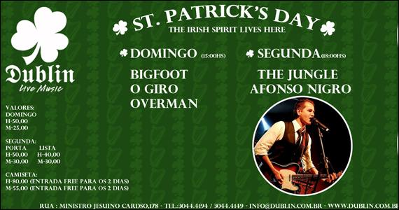 Dublin Live Music apresenta programação especial para o St Patrick's Day