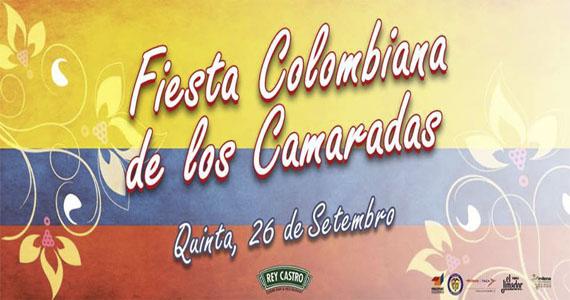 Rey Castro se pinta de amarelo, azul e vermelho na Fiesta Colombiana de Los Camaradas  Eventos BaresSP 570x300 imagem
