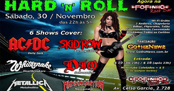 Hard'n'Roll com covers de bandas famosas no Fofinho Rock Bar - Rota do Rock Eventos BaresSP 570x300 imagem