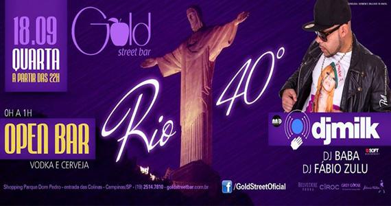 Festa Rio 40º com DJ Milk e convidados para agitar a quarta-feira na Gold Street Bar Eventos BaresSP 570x300 imagem