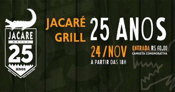 Jacaré Grill comemora 25 anos com atrações especiais na terça Eventos BaresSP 570x300 imagem