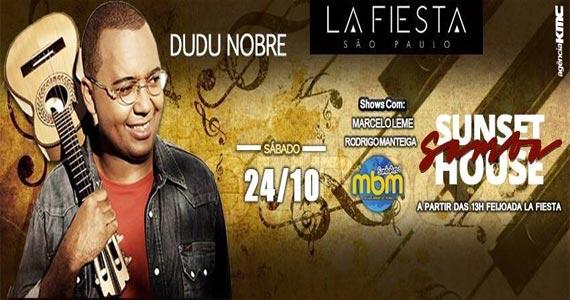 Dudu Nobre e convidados se apresentam no Sunset Samba do La Fiesta  Eventos BaresSP 570x300 imagem