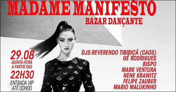 Madame Manifesto agita a noite de quinta-feira com bazar dançante no Madame Eventos BaresSP 570x300 imagem