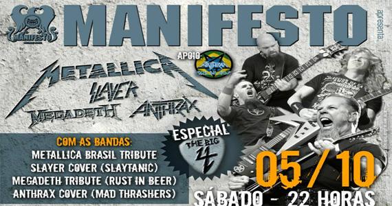 Manifesto Bar agita o sábado com Especial The Big Four - Rota do Rock Eventos BaresSP 570x300 imagem