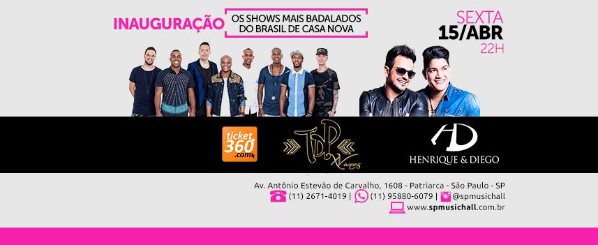 Inauguração do SP Music Hall tem shows com Henrique e Diego e Turma do Pagode Eventos BaresSP 570x300 imagem