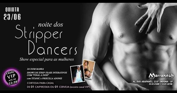 Noite dos Stripper Dancers com striptease e DJ Dom Marra agitando o Marrakesh Club Eventos BaresSP 570x300 imagem