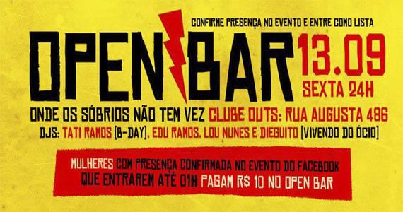 Outs promove mais uma edição do open bar Onde Os Sóbrios Não Tem Vez Eventos BaresSP 570x300 imagem
