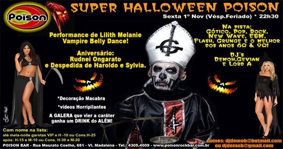 Super Halloween do Poison Bar e Balada agita a noite de sexta-feira Eventos BaresSP 570x300 imagem