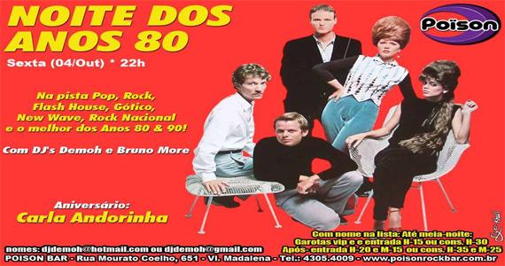 Noite dos Anos 80 anima a sexta-feira com DJs no Poison Bar e Balada Eventos BaresSP 570x300 imagem