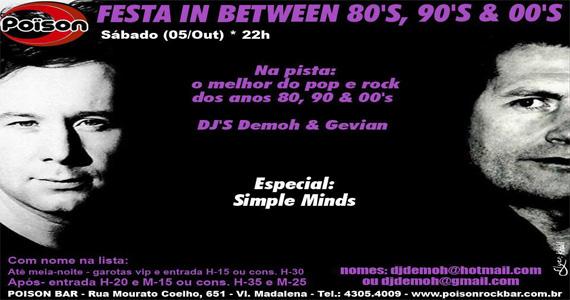 Festa In Between 80, 90 e 00 anima o sábado do Poison Bar e Balada Eventos BaresSP 570x300 imagem