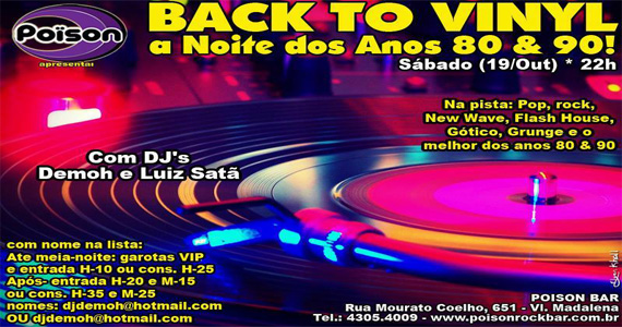 Festa Back To Vinyl embala a noite de sábado no Poison Bar e Balada Eventos BaresSP 570x300 imagem