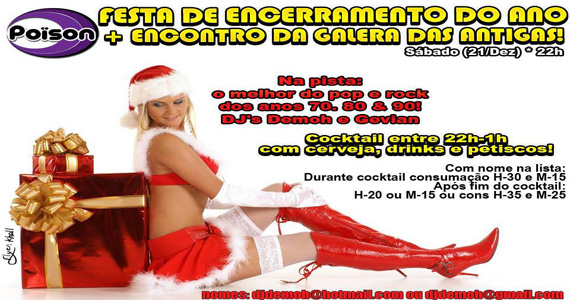 Festa de encerramento do Ano com DJs agitando a noite de sábado no Poison Bar e Balada Eventos BaresSP 570x300 imagem