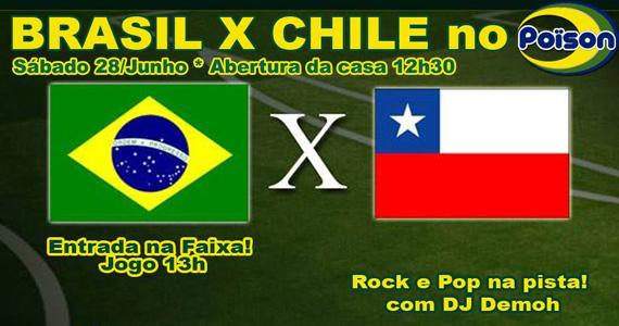 Poison Bar e Balada transmite a partida entre Brasil x Chile neste sábado Eventos BaresSP 570x300 imagem