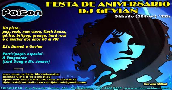 Festa de Aniversário do DJ Gevian agita a noite de sábado do Poison Bar e Balada Eventos BaresSP 570x300 imagem