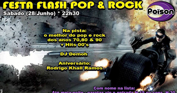 Festa Flash Pop e Rock no comando do DJ Demoh neste sábado no Poison Bar e Balada Eventos BaresSP 570x300 imagem