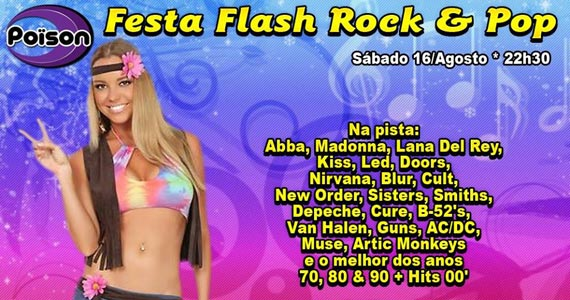 Festa Flash Rock & Pop com DJ Demoh nas pick-ups sábado no Poison Bar e Balada Eventos BaresSP 570x300 imagem