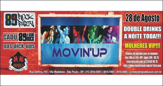 Republic Pub embala a noite ao som de Movin'up -89 Rock Party Eventos BaresSP 570x300 imagem
