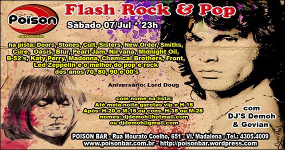 Festa do Flash Pop & Rock  no sábado do Poison Bar e Balada Eventos BaresSP 570x300 imagem