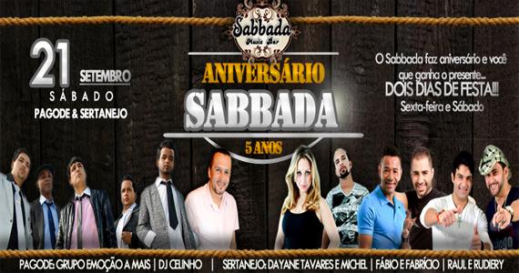 Segundo dia da festa de 5 anos da Sabbada reúne pagode e sertanejo no palco da casa Eventos BaresSP 570x300 imagem