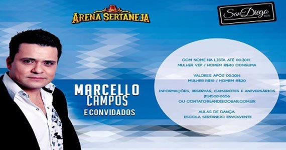 Arena Sertaneja com convidados especiais animando a noite do San Diego na terça-feira Eventos BaresSP 570x300 imagem