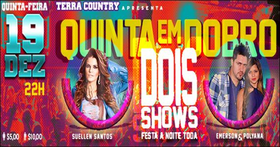 Terra Country apresenta na quinta-feira Suellen Santos e dupla Emerson & Polyana - Rota Sertaneja Eventos BaresSP 570x300 imagem