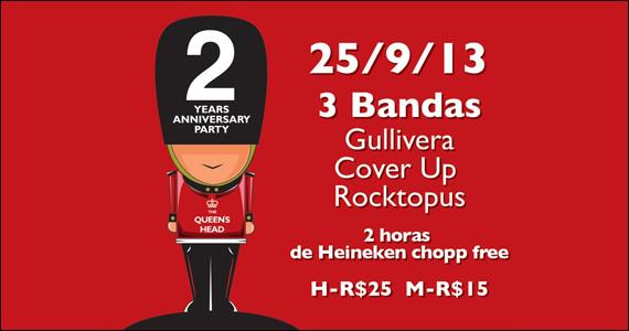 2 horas free de chopp Heineken e show de 3 bandas marcam aniversário de 2 anos do The Queen's Head - Rota do Rock Eventos BaresSP 570x300 imagem