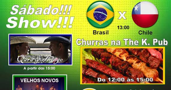 Jogo do Brasil com churrasco e apresentação de Velhos Novos e Oara & Thiago no The K. Pub Eventos BaresSP 570x300 imagem