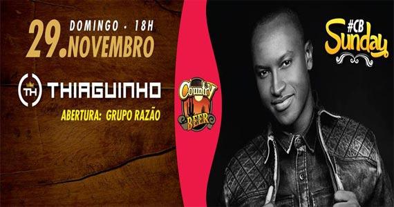 Country Beer apresenta sucessos do pagode em show do cantor Thiaguinho Eventos BaresSP 570x300 imagem