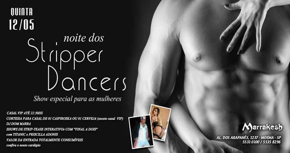 Noite dos Stripper Dancers com show erótico e interativo no Marrakesh Club Eventos BaresSP 570x300 imagem