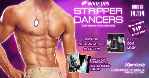 Noite dos Stripper Dancers com DJ Dom Marra agitando o Marrakesh Club Eventos BaresSP 570x300 imagem