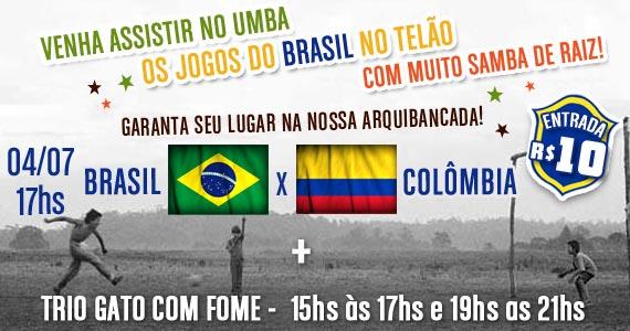 Trio Gato com Fome e transmissão de Brasil x Colômbia no Umbabarauma Bar Eventos BaresSP 570x300 imagem