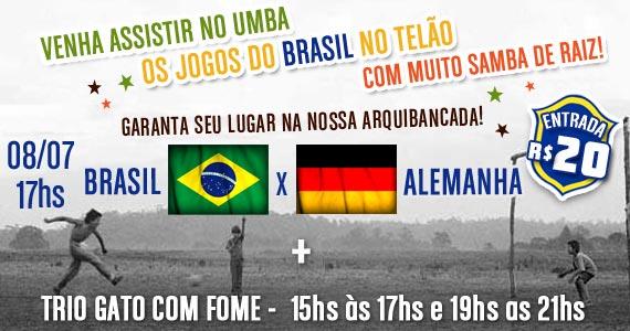 Trio Gato com Fome com transmissão de Brasil x Alemanha nesta terça no Umbabarauma Bar Eventos BaresSP 570x300 imagem