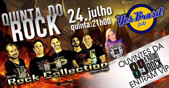 Quinta do Rock com a banda Rock Collection e parceria da 89 FM no Yes Brasil Pub Eventos BaresSP 570x300 imagem