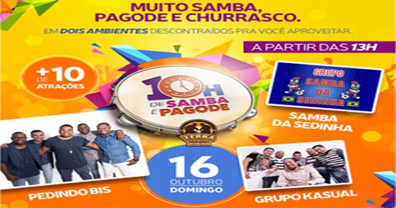 10h de samba e pagode com Pedindo Bis, Grupo Kasual e Samba da Sedinha na Terra Country Interlagos Eventos BaresSP 570x300 imagem