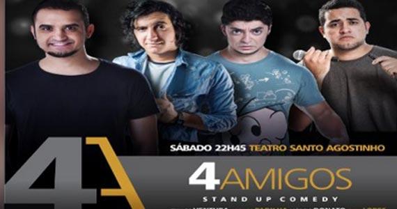 Sábado é dia de assistir o espetáculo 4 Amigos Stand Up Comedy no Teatro Santo Agostinho Eventos BaresSP 570x300 imagem