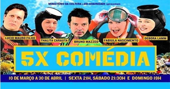 O espetáculo 5X Comédia está de volta com a nova geração do humor no Teatro Shopping Frei Caneca Eventos BaresSP 570x300 imagem