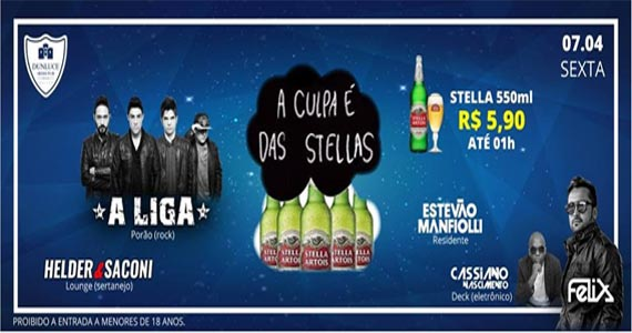 O melhor do rock com a banda A Liga animando a Festa A Culpa é das Stellas no Dunluce Pub Eventos BaresSP 570x300 imagem