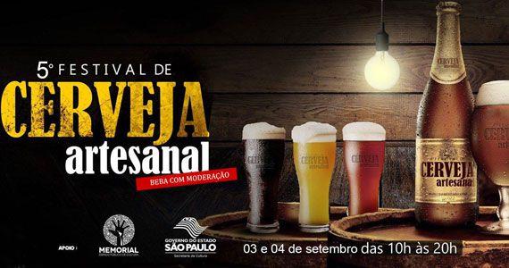 eventos - 5º Festival de Cerveja Artesanal acontece no Memorial da América Latina com entrada gratuita