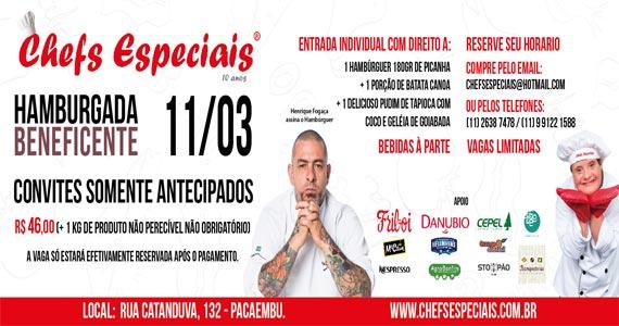 Henrique Fogaça realiza evento beneficente Hamburgada Solidária no Instituto Chefs Especiais Eventos BaresSP 570x300 imagem