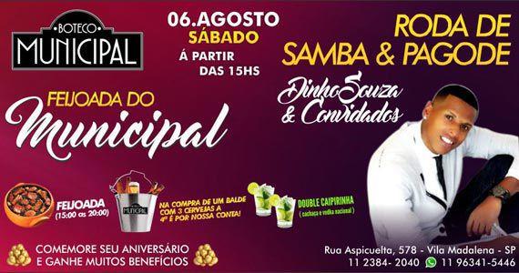 Sábado é dia de feijoada com samba e pagode no Boteco Municipal Eventos BaresSP 570x300 imagem