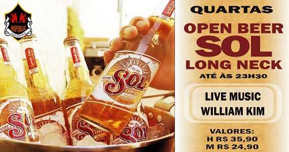 Cantor William Kim com Open Bar Sol na quarta do Republic Pub Eventos BaresSP 570x300 imagem
