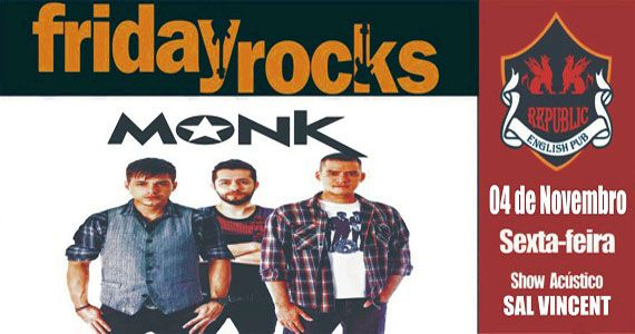 Sal Vincent e banda Monk comandam a sexta com pop rock no Republic Pub Eventos BaresSP 570x300 imagem